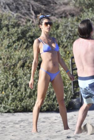 Alessandra Ambrosio - In a bikini during Volleyball practice in Malibu