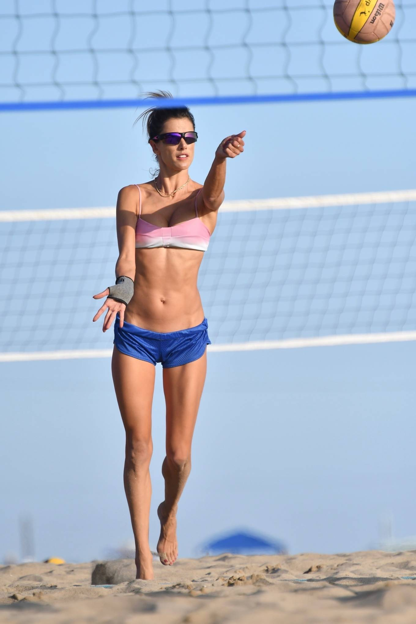 Alessandra Ambrosio - In a bikini playing volleyball on the beach in Santa Monica
