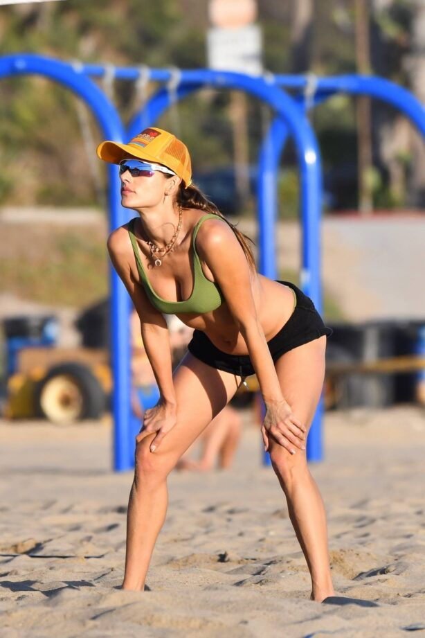 Alessandra Ambrosio - In a bikini plays beach volleyball in Santa Monica