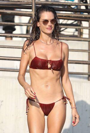 Alessandra Ambrosio - In a bikini seen on the beach in Malibu