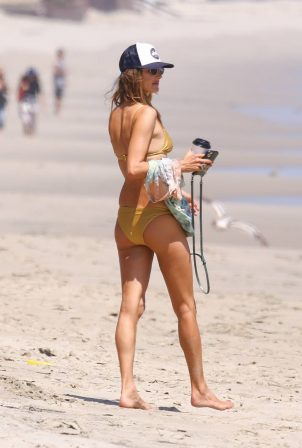 Alessandra Ambrosio - In a gold bikini at the beach in Malibu