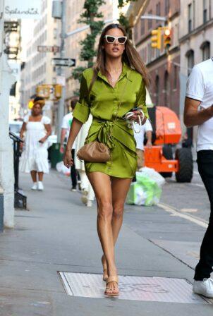 Alessandra Ambrosio - In a green dress walking in Soho