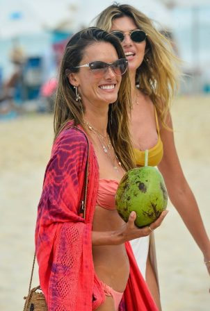 Alessandra Ambrosio - In a pink bikini on the beach in Brazil