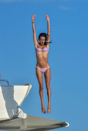 Alessandra Ambrosio - In a purple bikini on a yacht in Florianópolis - Brazil