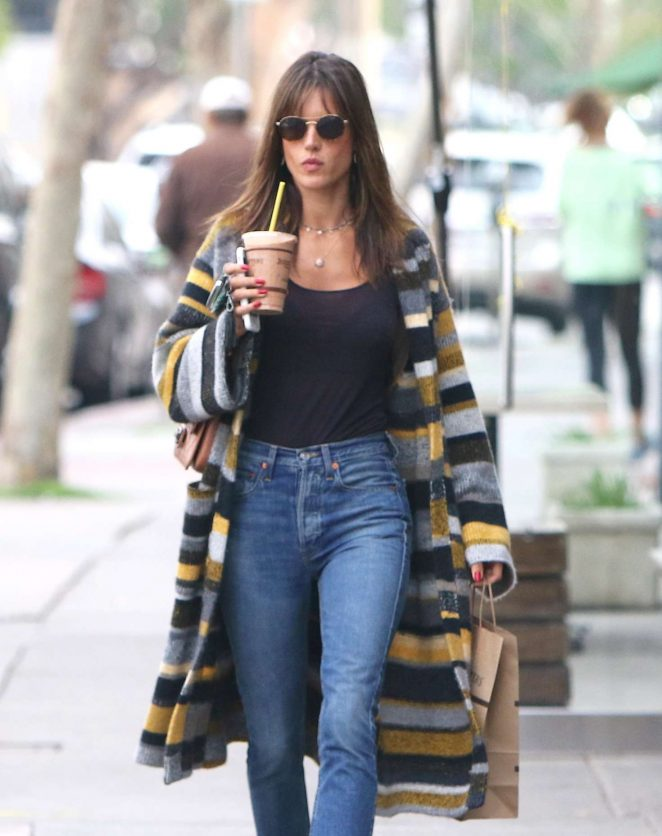 Alessandra Ambrosio in a sheer black top at Juice Crafters in Brentwood