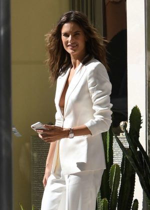 Alessandra Ambrosio in a white pantsuit in Miami