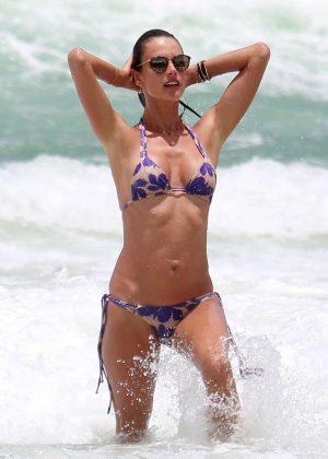 Alessandra Ambrosio in Bikini at the beach in Florianopolis