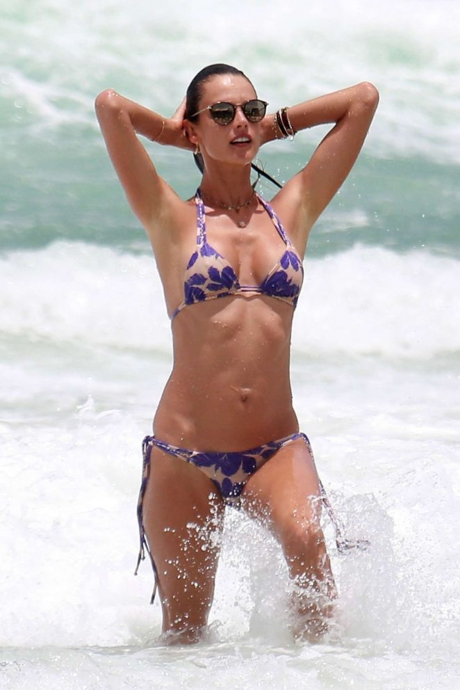 Alessandra Ambrosio in Bikini at the beach in Florianopolis