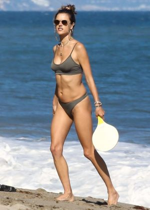 Alessandra Ambrosio in Bikini at the beach in Malibu