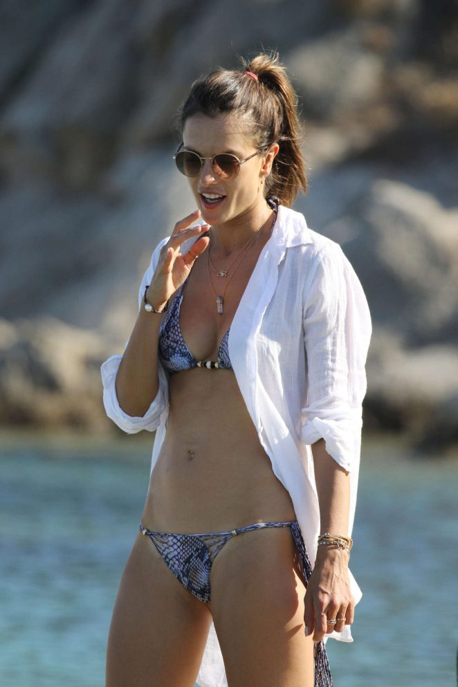 Alessandra Ambrosio in Bikini at the beach in Mykonos