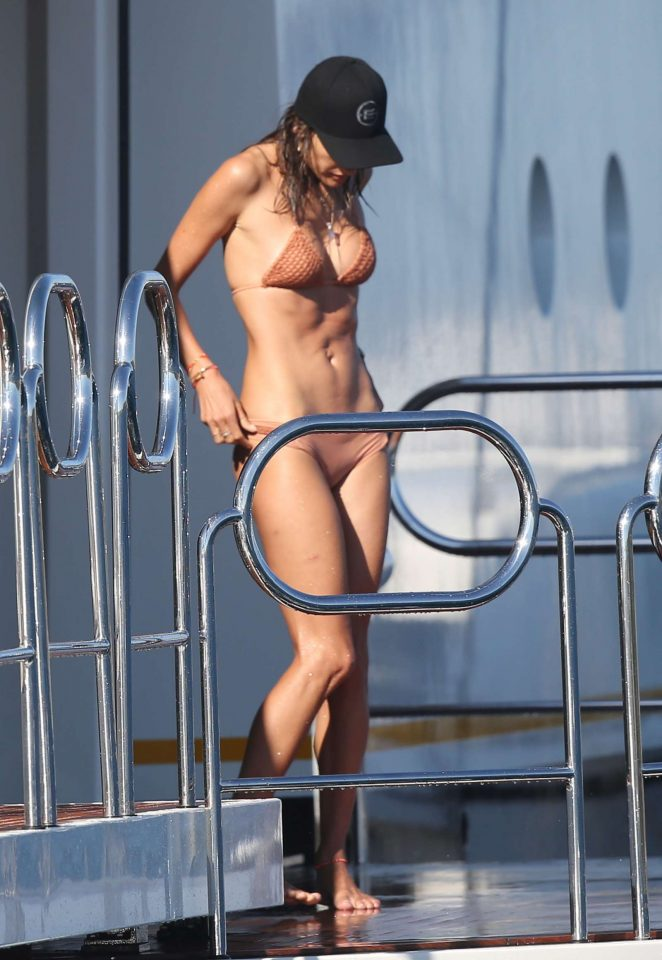 Alessandra Ambrosio in Bikini JetSki ride in France