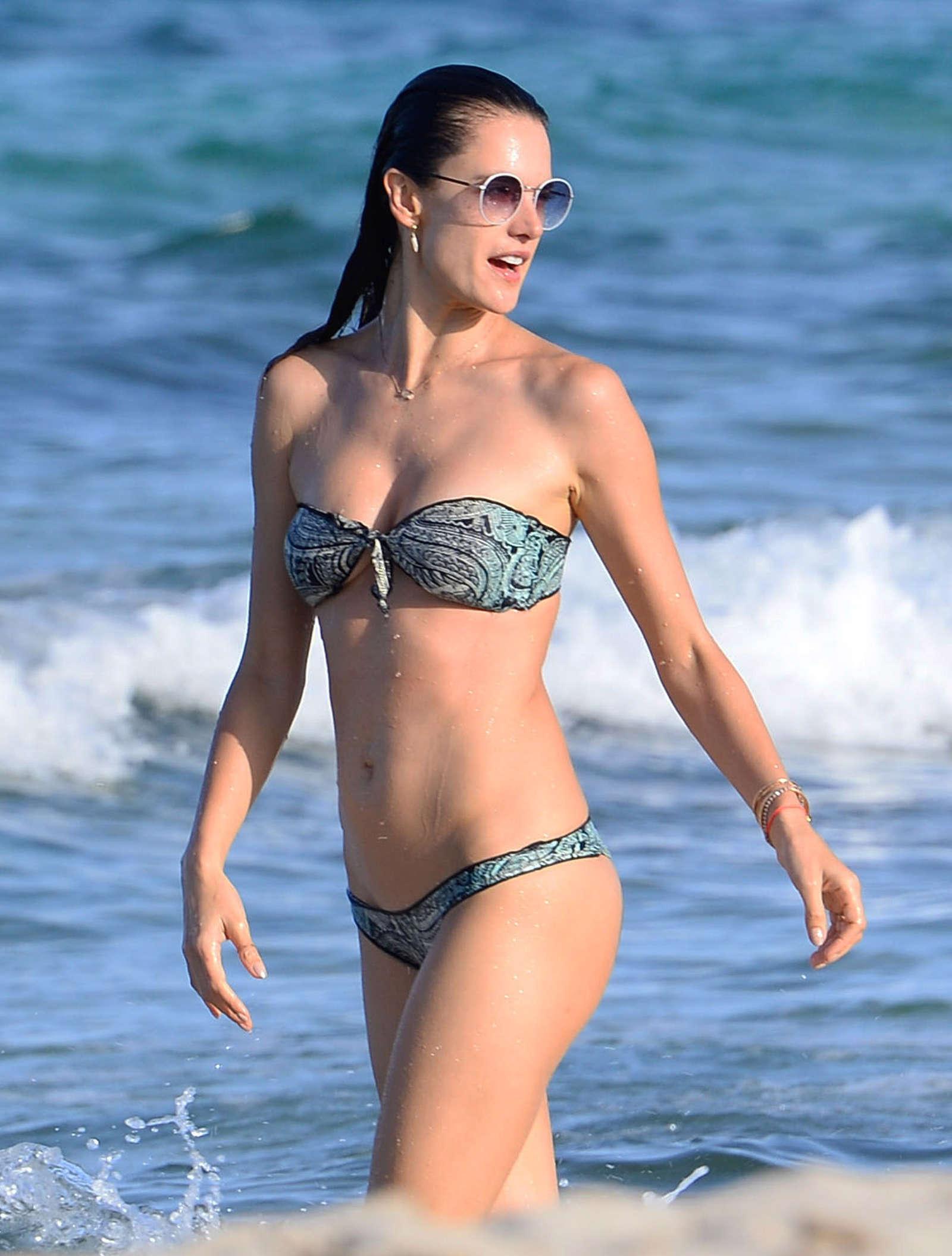 Alessandra Ambrosio in Bikini on the beach in Ibiza