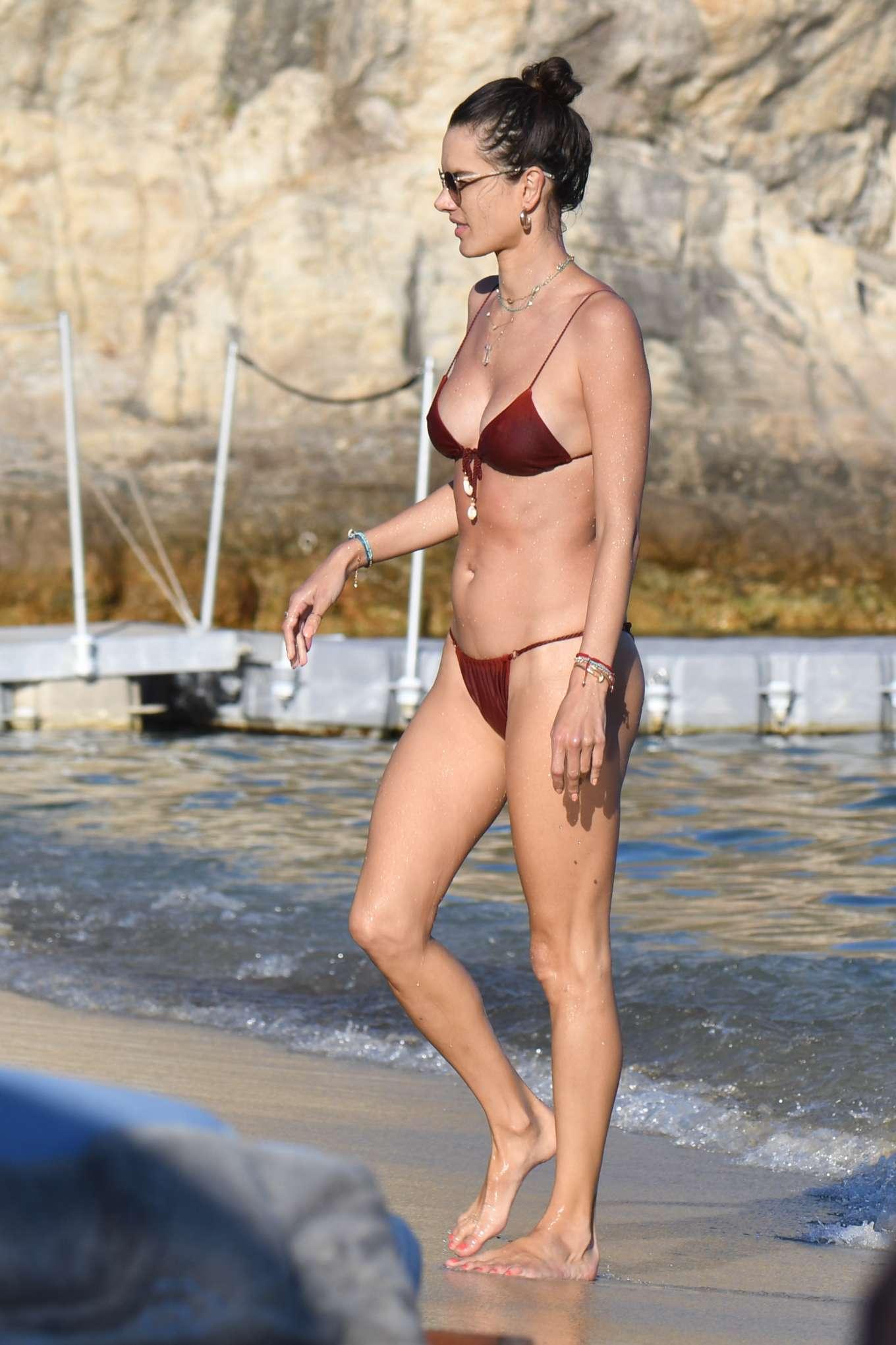 Alessandra Ambrosio in Bikini on the beach in Mykonos