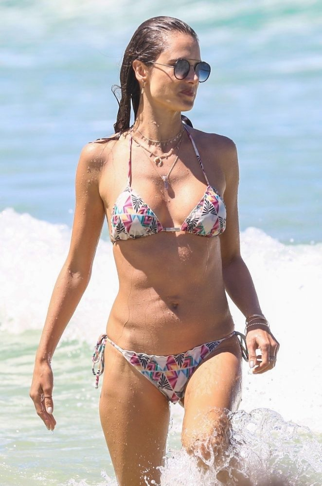 Alessandra Ambrosio in Bikini on the beach with Ludi Delfina and Talita Correa in Florianopolis