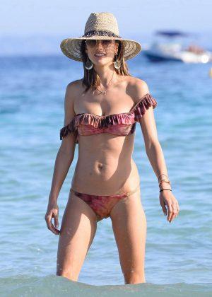 Alessandra Ambrosio in Bikini on vacation in Ibiza