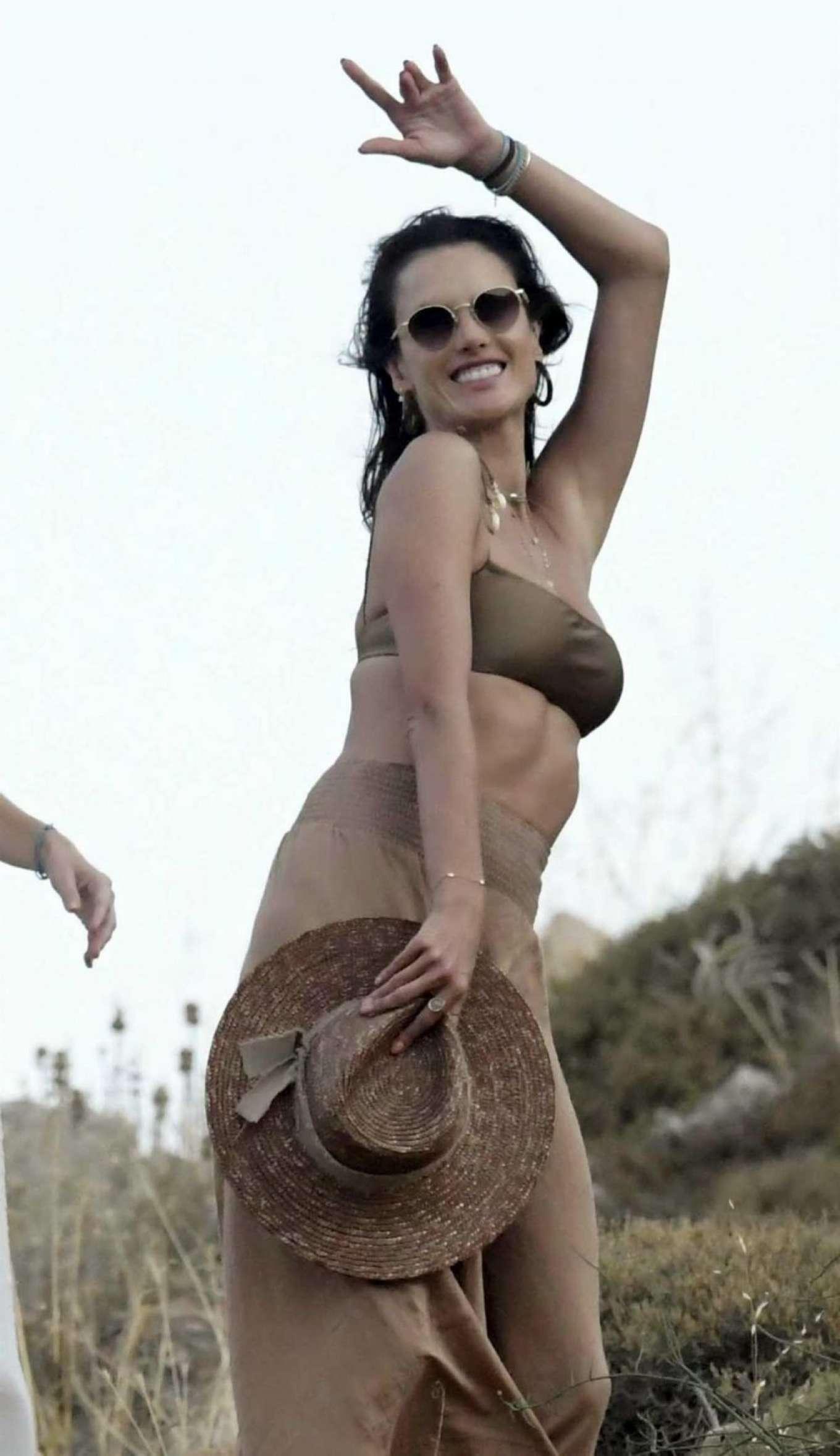Alessandra Ambrosio in Bikini Top at Kensho Psarou Beach in Mykonos