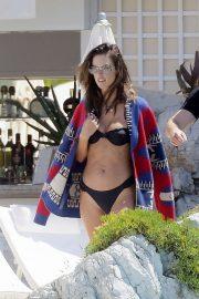 Alessandra Ambrosio in Black Bikini in Cannes