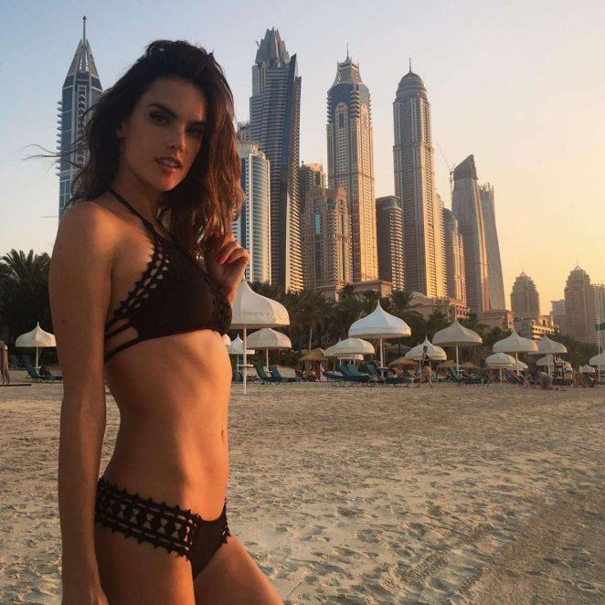 Alessandra Ambrosio in Black Bikini in Dubai