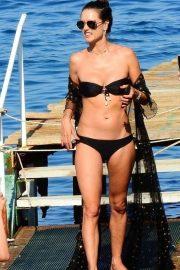 Alessandra Ambrosio in Black Bikini on the beach in Eden Garden