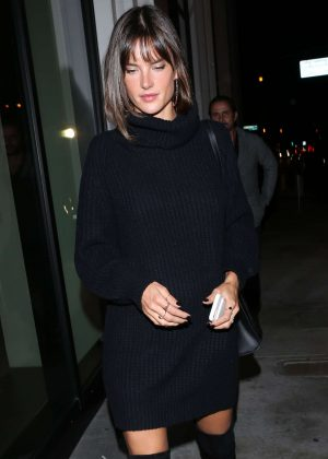 Alessandra Ambrosio in Black Dress at Catch LA in West Hollywood