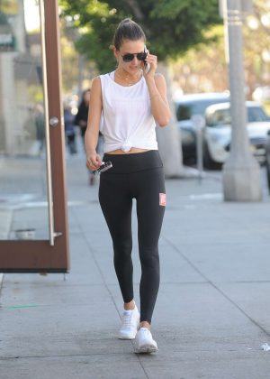 Alessandra Ambrosio in Black Leggings out in Los Angeles
