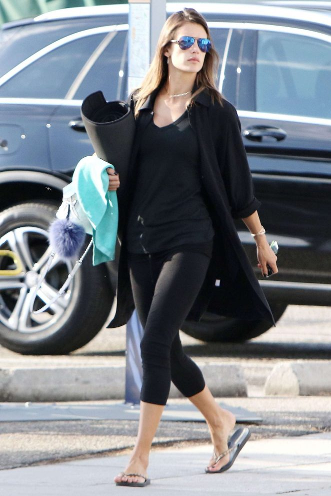 Alessandra Ambrosio in Black Spandex out in Los Angeles