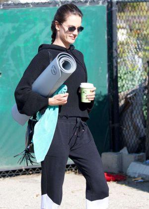 Alessandra Ambrosio in Black Sweatpants Heads for yoga class in LA