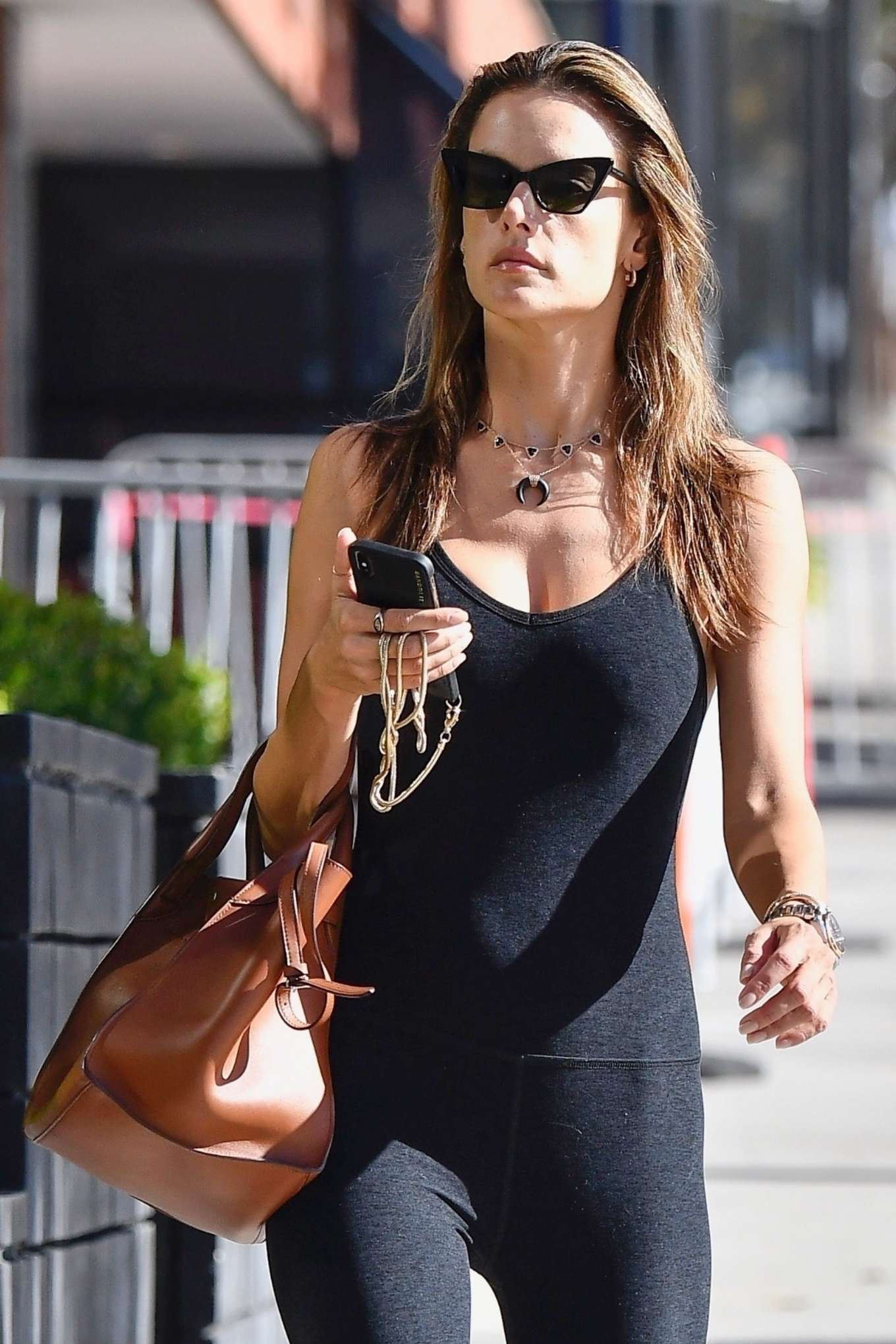 Alessandra Ambrosio in Black Tights Jumpsuit - Heads for a pilates class in Los Angeles