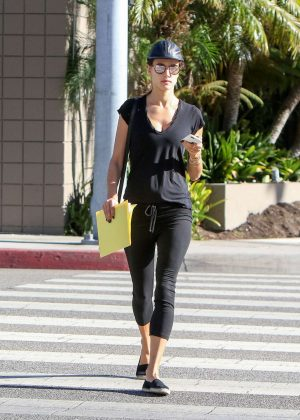 Alessandra Ambrosio in Black Tights Out in Los Angeles