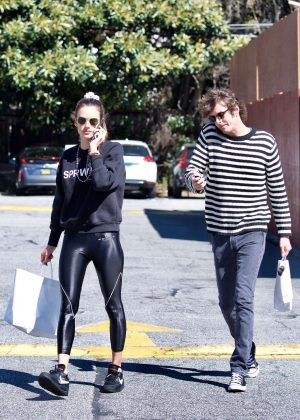 Alessandra Ambrosio in Black Tights - Shopping in Brentwood