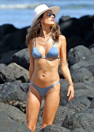 Alessandra Ambrosio in Blue Bikini at the beach in Hawaii