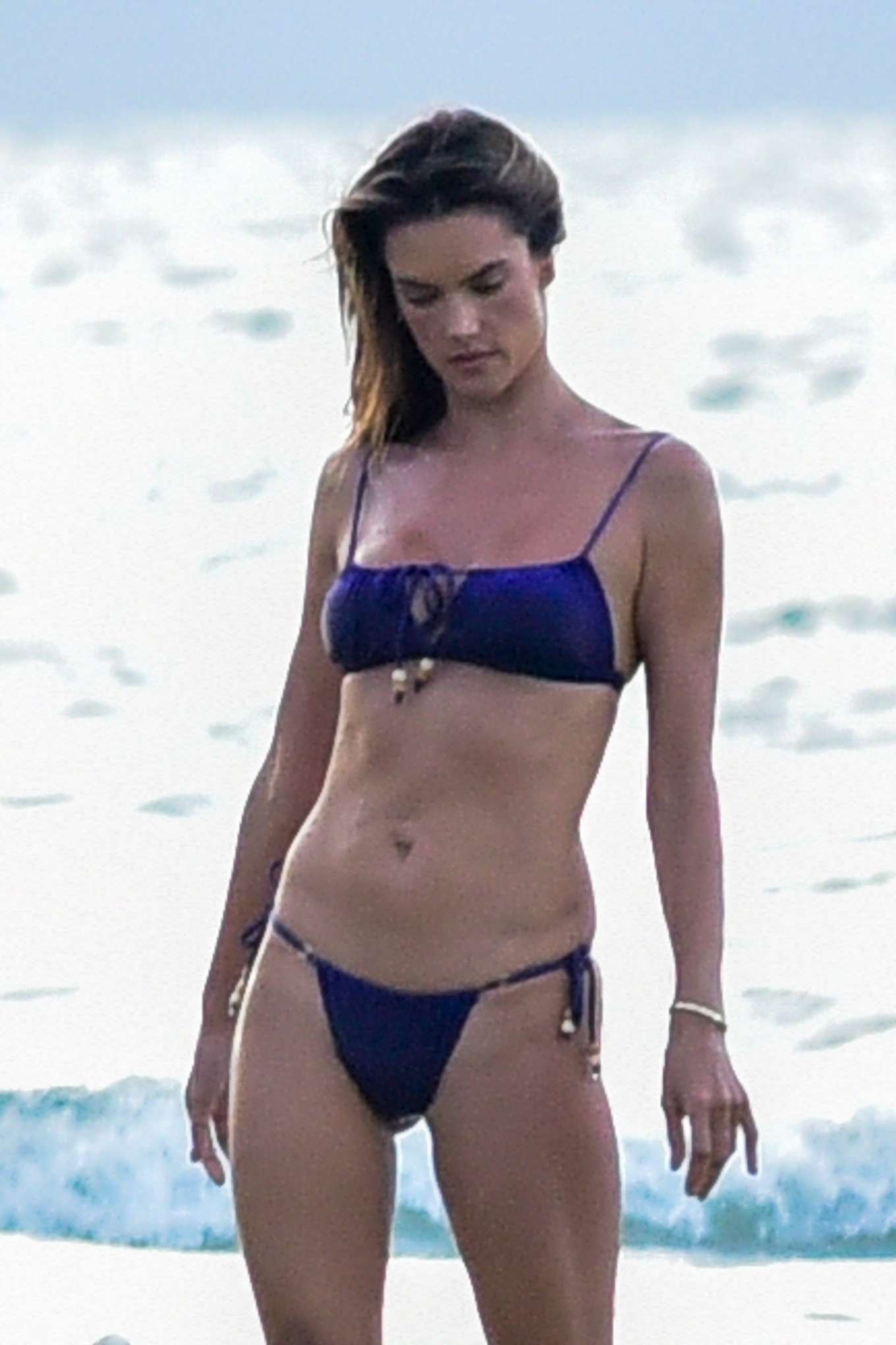Alessandra Ambrosio in Blue Bikini - Photoshoot on the beach in Florianopolis