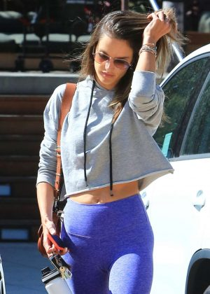 Alessandra Ambrosio in Blue Tights - Leaving the gym in Brentwood