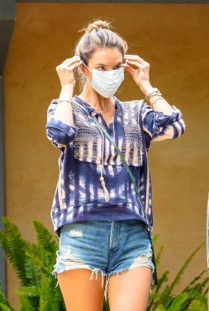 Alessandra Ambrosio in Denim Shorts - Arrives at a house in Malibu