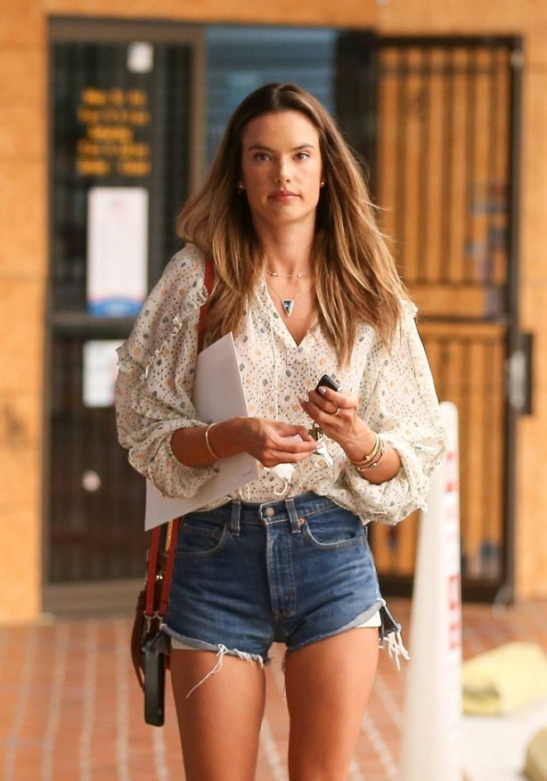 Alessandra Ambrosio - In denim shorts at a local passport photo business in Brentwood