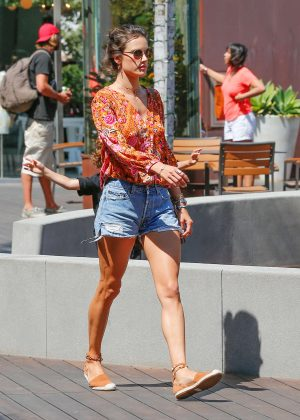 Alessandra Ambrosio in Denim Shorts at Cafe Habana in Malibu