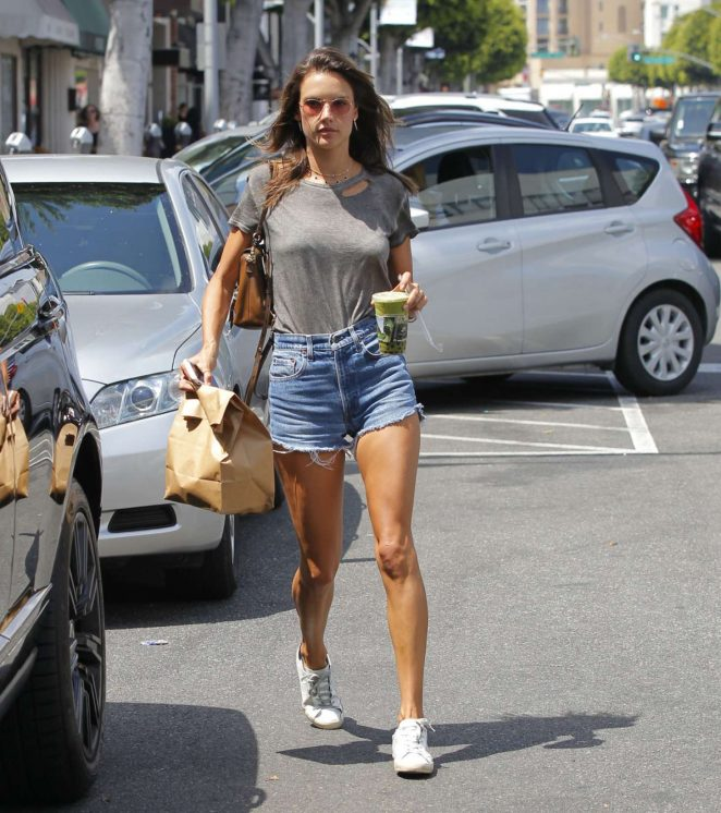 Alessandra Ambrosio in Denim Shorts at Earth Cafe in Beverly Hills