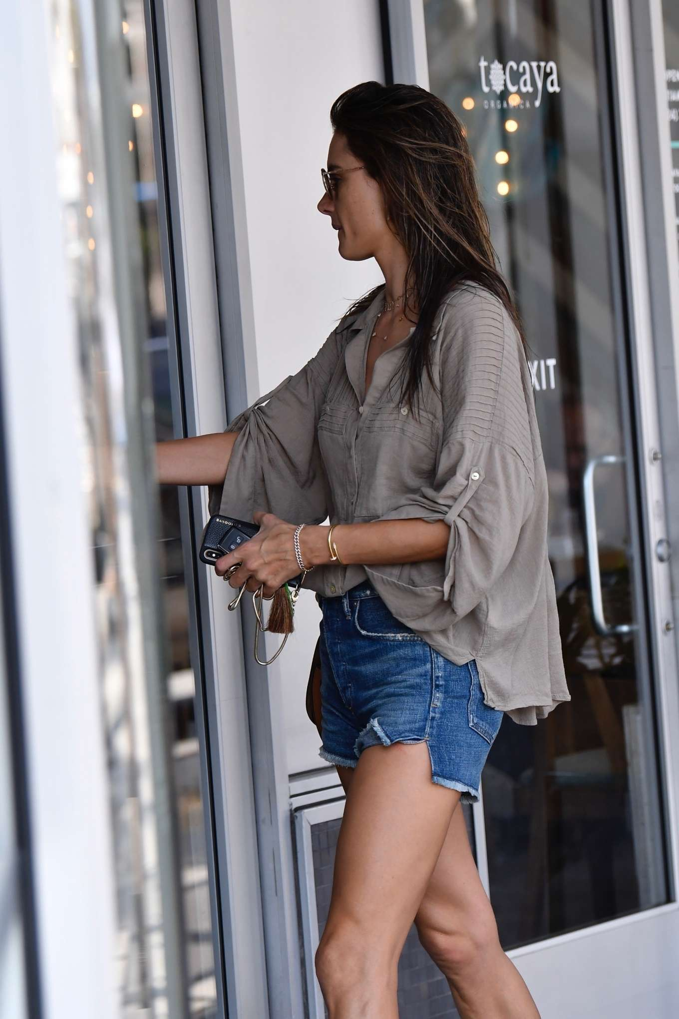 Alessandra Ambrosio in Denim Shorts - Out forr lunch in Santa Monica