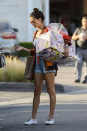 Alessandra Ambrosio in Denim Shorts - Shopping for Mother's Day in Malibu