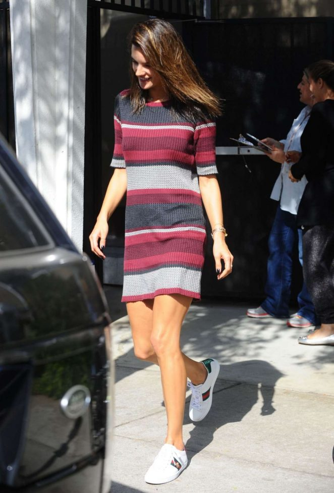 Alessandra Ambrosio in Dress Out in LA