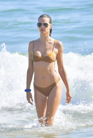 Alessandra Ambrosio - In gold bikini on the beach in Malibu