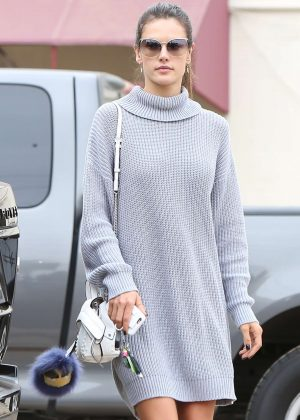 Alessandra Ambrosio in Grey Dress out in Brentwood