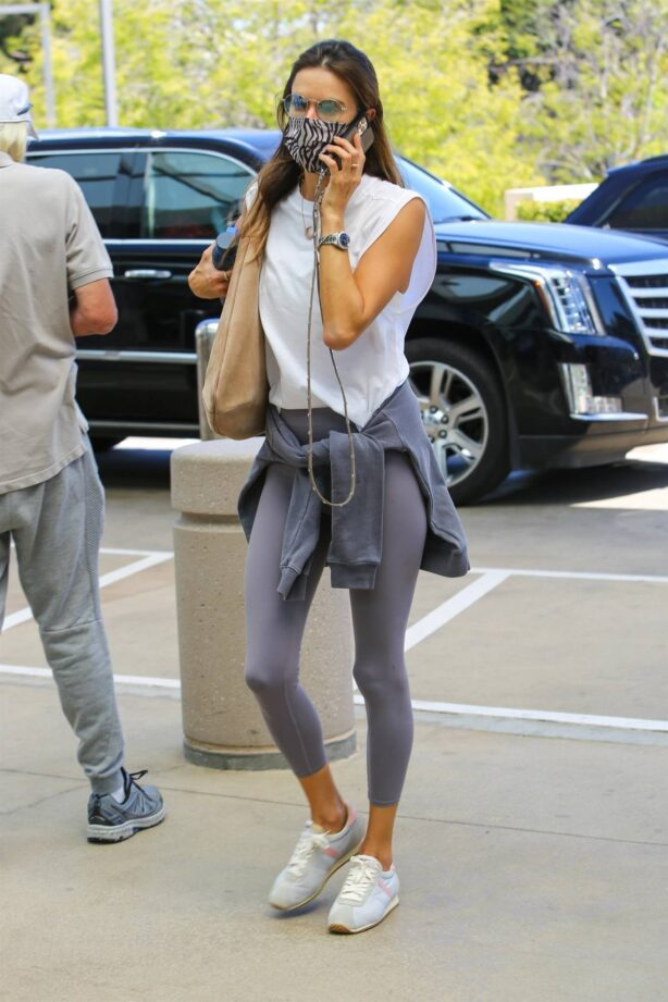 Alessandra Ambrosio - In grey workout ensemble out in Beverly Hills