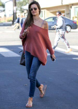 Alessandra Ambrosio in Jeans at a nail salon in Santa Monica