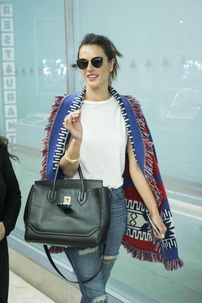 Alessandra Ambrosio in Jeans at Airport in Madrid