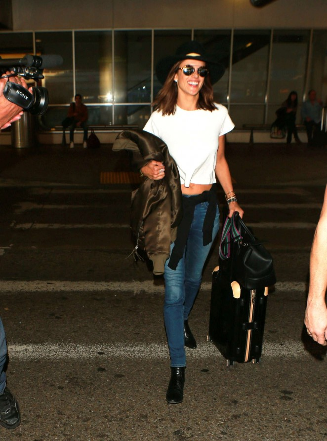 Alessandra Ambrosio in Jeans at LAX Airport in Los Angeles