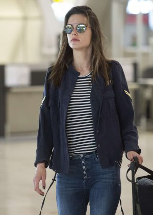 Alessandra Ambrosio in Jeans at the airport in Madrid