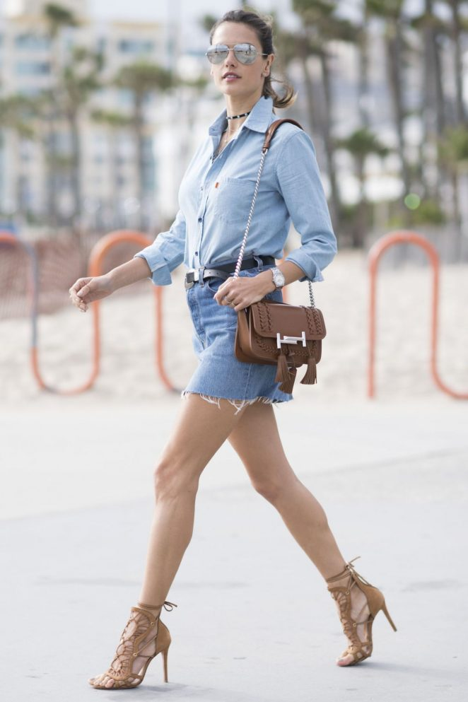 Alessandra Ambrosio in Jeans Mini Skirt Out in Los Angeles