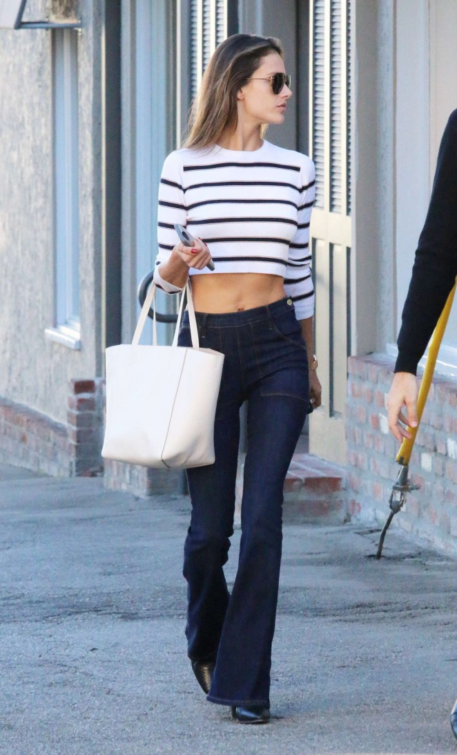 Alessandra Ambrosio in Jeans Out in Los Angeles
