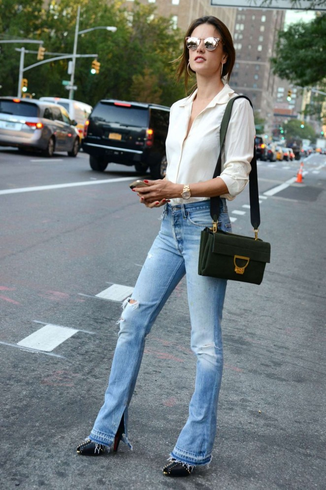 Alessandra Ambrosio in Jeans Out in New York
